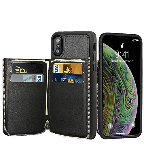 LAMEEKU Wallet Zipper Case for Apple iPhone Xs Max, 6.5-Inch, Shockproof Leather Purse Cases with Credit Card Holder Slot Money Pocket, Bumper Cover Compatible with iPhone Xs Max 6.5