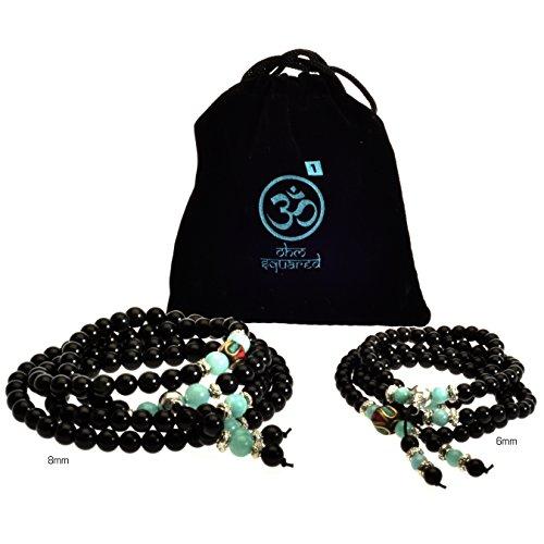 Price comparison product image Mala Beads Tibetan Meditation Buddhist Genuine Black 108 Obsidian Healing Stones Amazonite Gemstone Wrist Bracelet / Bead Necklace - For Prayer, Yoga, Mantras, Reiki, Mudras, Energy Work