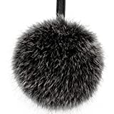 Rabbit Fur Ball Pom Pom Keychain Puff Ball Keyring Cityelf Fluffy Accessories Car Bag Charm (FROST BLACK LARGE)