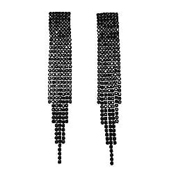 Gun Metal Black Rhinestone Crystal Drop Earrings