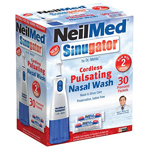 (NeilMed Sinugator Cordless Pulsating Nasal Wash with 30 Premixed Packets)