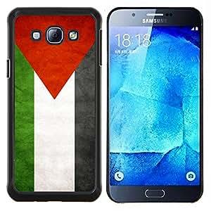 KLONGSHOP // Cubierta de piel con cierre a presión Shell trasero duro de goma Protección Caso - Nacional bandera de la nación País Palestina - Samsung Galaxy A8 A8000 //