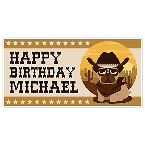 Western Pug Dog Birthday Banner Personalized Party Backdrop Decoration
