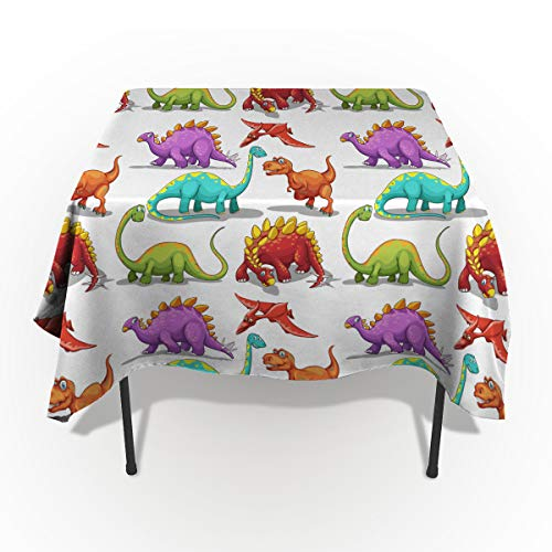 Jurassic Tablecloths for Rectangle 60 x 84-inch Table Cover, Cotton Linen Fabric Table Cloth for Dining Room Kitchen, Colorful Cartoon Dinosaur Illustration Herbivore and Carnivore Animals,