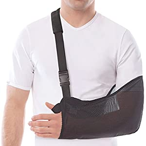 """TOROS-GROUP Arm & Shoulder Support Sling - Breathable Mesh - Lightweight - Adult/Small, Forearm 11""""-13"""" Black"""