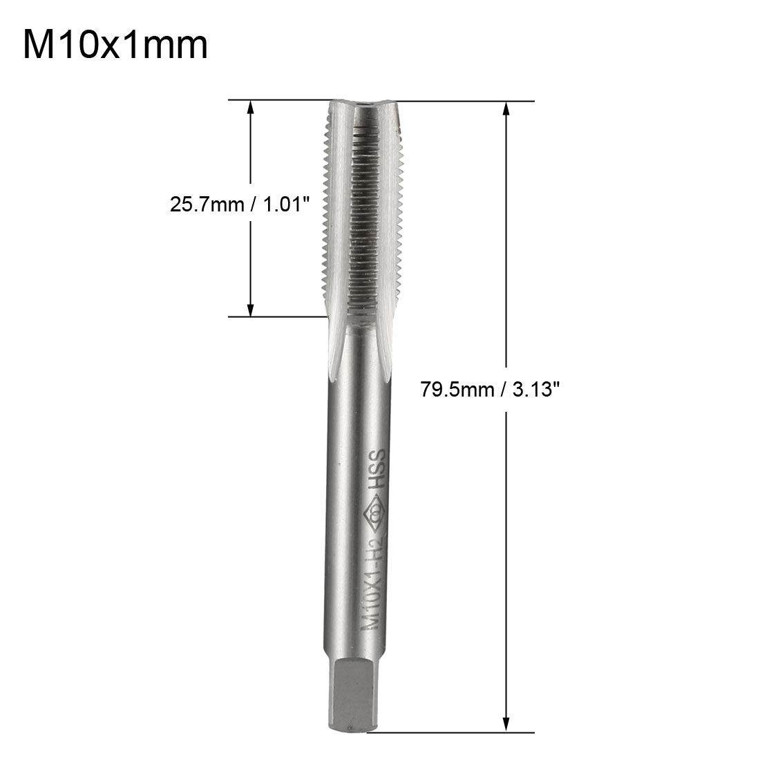 uxcell Metric Taps M10x1.25mm Pitch H2 Right Hand Thread Plug Tap HSS for Threading Machine Electric Drill DIY