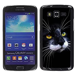 Be Good Phone Accessory // Dura Cáscara cubierta Protectora Caso Carcasa Funda de Protección para Samsung Galaxy Grand 2 SM-G7102 SM-G7105 // Black White Cat House American Wirehair