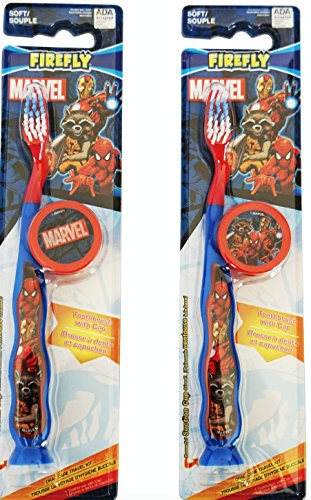 """Best Marvel Avengers Superhero Travel Kit Toothbrush (2 Pack Bundle): Soft Bristles, Suction Cup w/ Lenticular Durable Plastic Cap (Switches from """"Marvel"""" to Spiderman Ironman & Rocket Racoon"""