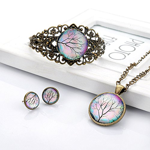 Lureme Time Gem Series Disc Charm Stud Earrings Hollow Flower Open Bangle Bracelet and Pendant Necklace Jewelry Sets for Women and Girls (09000456) (Tree Branch)