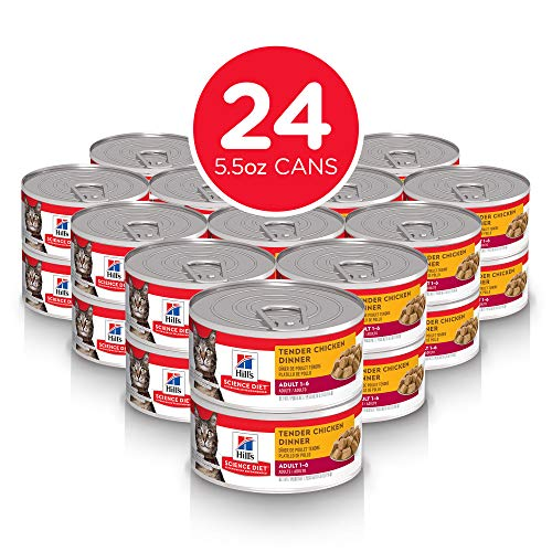 Hill's Science Diet Wet Cat Food, Adult, Chunks & Gravey Tender Chicken Recipe, 5oz Cans, 24 Pack (Cat Food Science Diet Kitten)