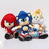 Sonic the hedgehog Tails Knuckles the Echidna Soft Plush Stuffed Animals Doll Kids Toys 3pcs/set