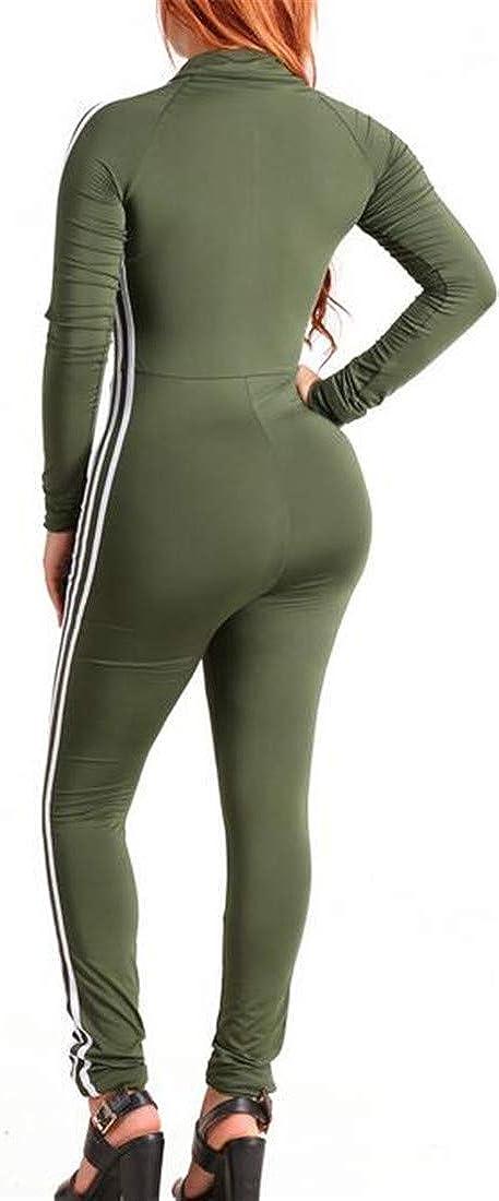 Etecredpow Womens Lapel Neck Sport Stretch Striped Zip Club Bodysuit Jumpsuits