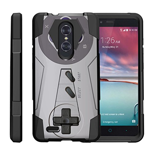 TurtleArmor | ZTE ZMax Pro Case | ZTE Blade X Max Case | ZTE Carry [Dynamic Shell] Hybrid Dual Layer Hard Shell Kickstand Silicone Case - Classic Game Controller