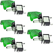 Etopars™ 5 X 12V 20A Green Cover LED Light Rocker Toggle Switch SPST ON/OFF Car Boat Vehicle
