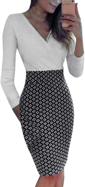 LILICAT Midi-Kleid Damen Langarm Slim Fit Arbeit OL Shirt Abend