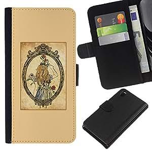 WINCASE (No Para Z3 plus+ / Z3 compact) Cuadro Funda Voltear Cuero Ranura Tarjetas TPU Carcasas Protectora Cover Case Para Sony Xperia Z3 D6603 - espejo de la vendimia de oro chica rosas marrones