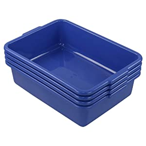 Hespapa 13L Wash Tub Basin, Blue Utility Commercial Bus Box, 4 Packs