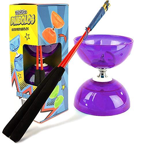 Kickfire Chinese Yoyo Diabolo Triple Bearing Diabolos Set Transparent Purple with Carbon Fiber Sticks (Purple)