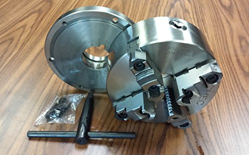 8'' 4-Jaw Self-Centering Lathe Chuck top&bottom jaws w. L00 adapter plate-new by CME Tools