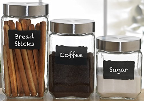 Circleware Provincial Set of 3 Glass Canisters with 2 Pieces of Chalk, 84oz, 44oz, (Belize Mug)
