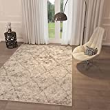 "Beige Trellis Lattice Shag Area Rug [ 5′ x 7'2"" ] Geometric Modern Contemporary Shag Area Rug Living Dining Room Bedroom Kitchen Rug Easy Clean Stain Resistant Carpet Soft Plush Quality Area Rug"