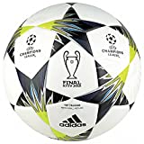 adidas Champions League Finale Kiev Top Training Soccer Ball, White/Black/Solar Yellow, Size 5
