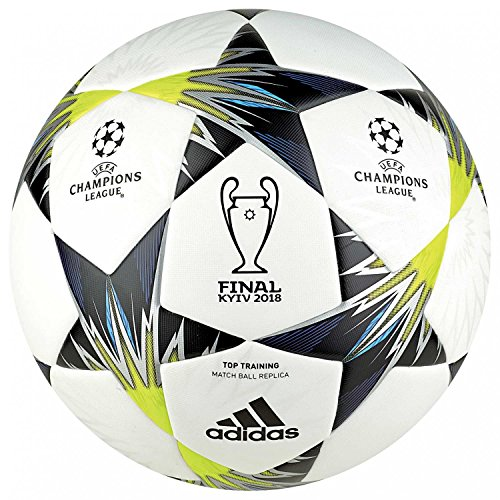 adidas Champions League Finale Kiev Top Training Soccer Ball, White/Black/Solar Yellow, Size 5