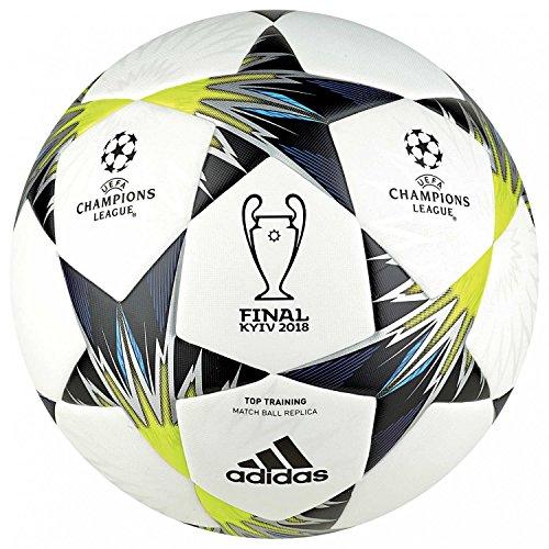 (adidas Champions League Finale Kiev Top Training Soccer Ball, White/Black/Solar Yellow, Size 5)