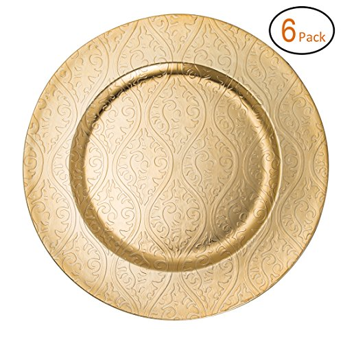 FANTASTIC :)  Round 13 Inch Plastic Charger Plates with Eletroplating Finish (6, Moslem Gold)