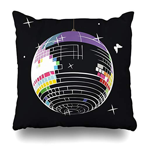 Ahawoso Throw Pillow Cover Light Party Mirror Ball Disco Discoball Vintage Club Clubbing Design Seventies Decorative Cushion Case 18x18 Inches Square Home Decor -