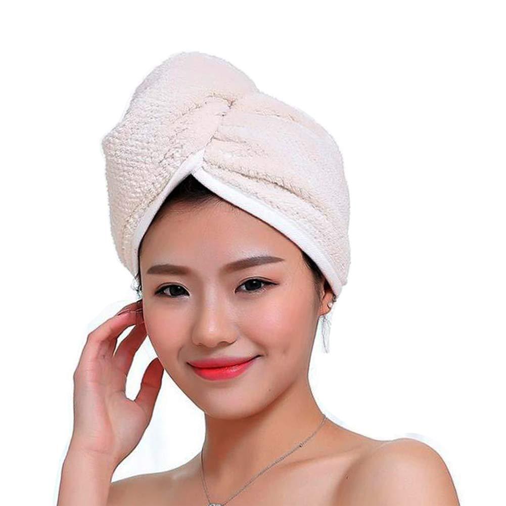 Fyore Ultra Absorbente para el cabello Turbante Toalla de secado rápido Anti Frizzy Microfibra Diseño de lujo para mujeres (Beige): Amazon.es: Hogar