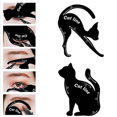 Being Spring 2 in 1 Cat Eyeliner Stencil Smoky Eyeshadow Template Professional Multifunction Black Cat Shape Eye liner & Eye Shadow Guide Template (5 PACK)