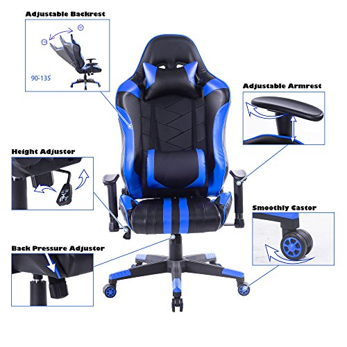 Killbee Large Size PVC Ergonomic Reclining Racing Chair Executive Office Chair with Headrest and Lumbar Support (Blue) by Killbee (Image #4)