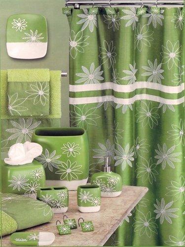 Popular Bath Daisy Stitch Shower Curtain Lime