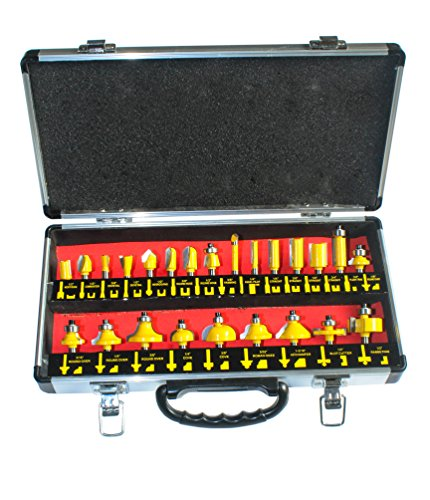 YUFU-24 Pieces Professional Multi-Purpose Wood-working Carbide tipped Router Bit Set Kit 1/4 Shank With nice aluminum carrying case (4 Piece Groove Kit)