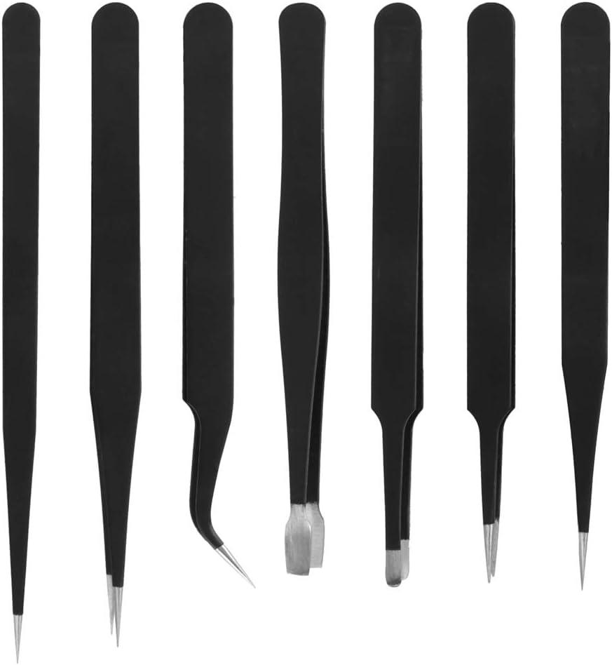 7 x ensemble de pinces outil /électronique de pr/écision antistatique en acier inoxydable conducteur noir de carbone