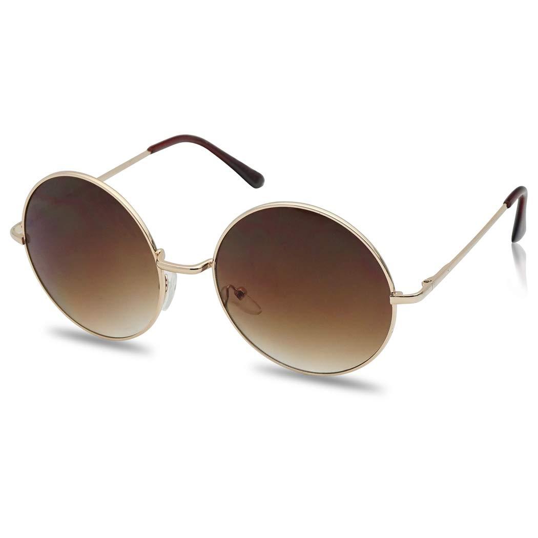 6ecbaefac2 Amazon.com  Womens Large Oversize Round Metal Vintage Vault Circle Xl  Sunglasses (Black)  Clothing