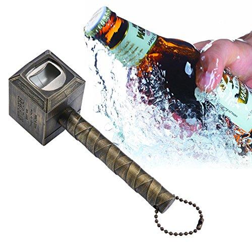 niceeshop(TM) Beer Bottle Opener,Hammer of Thor Shaped Bottle Opener Wine Corkscrew Beverage Wrench,Gold