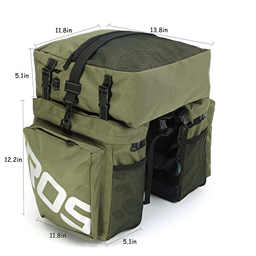 Bike Panniers Waterproof Bag - 3 in 1 Multi Function Messenger Panniers for Bicycles, Bicycle Rear Seat Trunk Bag, Bicycle Saddle Bag for Mountain Cycling by COCO (Army Green) by COCO (Image #2)