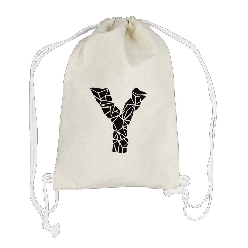 ''Y'' Crystal Glass Monogram Letter Y Cotton Canvas Backpack Drawstring Bag