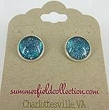 """Silver-Tone Glitter Glass Galaxy Stud Earrings Teal Blue Green Twinkle 1/2"""""""
