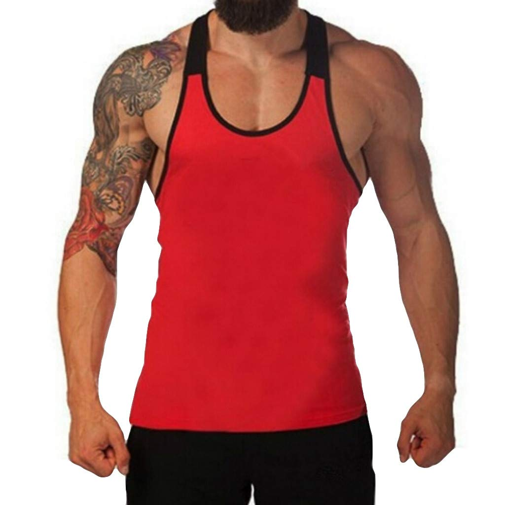 Sunyastor Men's Tank Top Gym Workout Tank Top Bodybuilding Fitness Sleeveless Muscle Gym Stringer T Shirts S-XXL Red