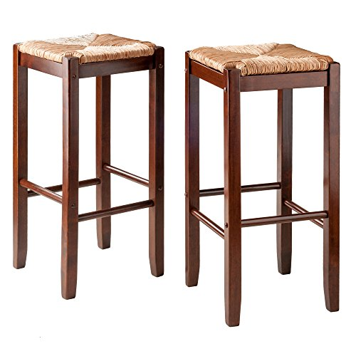 (Winsome Wood 94280 2 Piece Bar Stools Rush Seat Kaden Set, Walnut)
