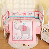 Hamkaw 7 Pieces Nursery Crib Bedding Set,Unisex Baby Cradle Bedding Set Nursery Decor with 4Pcs Bumper Pad,Quilt Blanket,100% Cotton Fitted Crib Sheet & Dust Ruffle