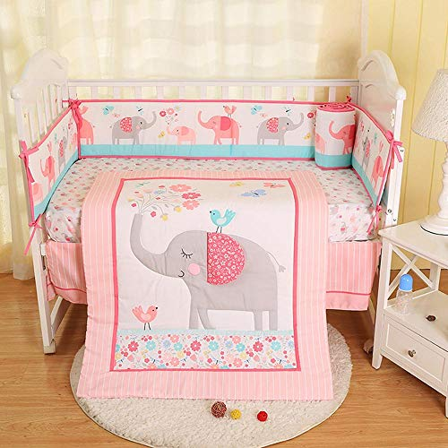 Baby Bedding Crib Set,7PCS Cute Pink Elephant Nursery Bedding Crib,100% Organic Cotton Cot Bedding Sets for Baby Girls,Including Crib Quilt,4 Crib Bumper Pad,Crib Fitted Sheet,Crib Skirt