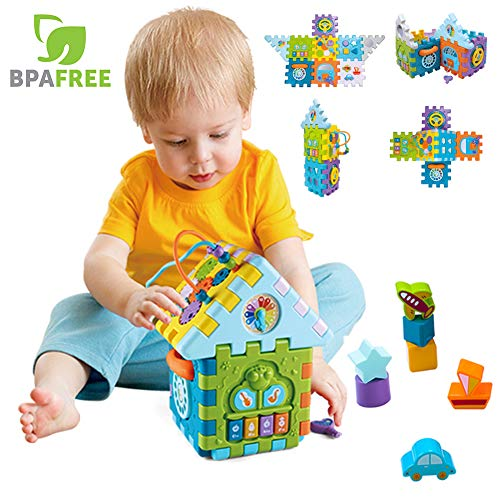 Baby Activity Cube 9-in-1 Toddler Multi Shape Play Toy for 1 2 3 Years Old BPA Free Odorless Game House for Early Cognitive & Motor Skills Developing with Music, Beads&Gears, -