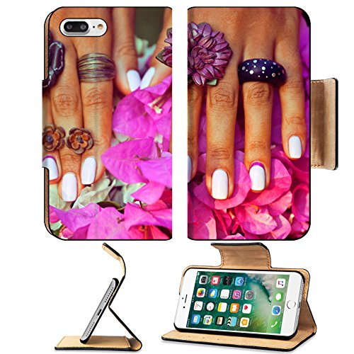 Luxlady Premium Apple iPhone 7 Plus Flip Pu Leather Wallet Case iPhone7 Plus 39654076 bright colorfull shot of african tanned hands with manicure among pink flowers wearing - Lumber Hardwood Flooring