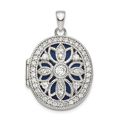 925 Sterling Silver Cubic Zirconia Cz Oval Photo Pendant Charm Locket Chain Necklace That Holds Pictures Fine Jewelry For Women Gift Set ()