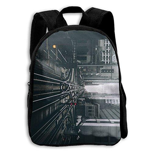 (Chicago Railway USA Signal Urban Building Lights Metro School Backpack Children Shoulder Daypack)