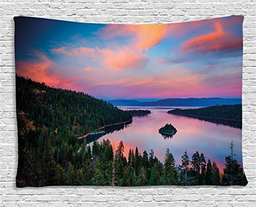 Ambesonne Lake Tahoe Tapestry, California Photography Rustic Themes Sundown Time Freshwater Sierra Nevada Lake, Wide Wall Hanging for Bedroom Living Room Dorm, 80 X 60 , Pink Green